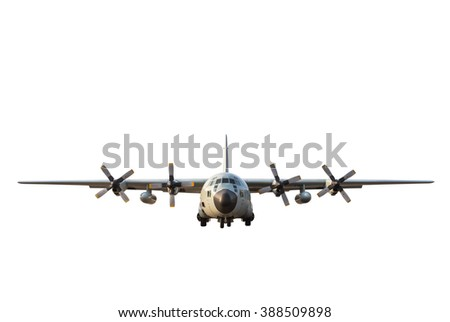 military transport aircraft on white background.