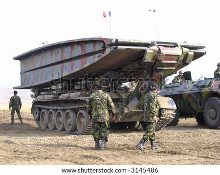 Military travelling crane - stock photo