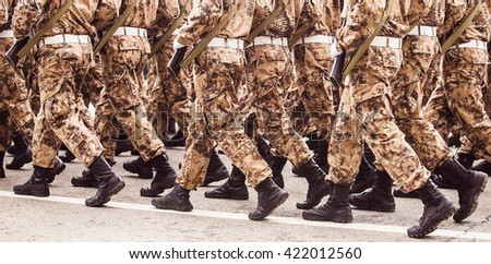 Military troop marching (panoramic view)