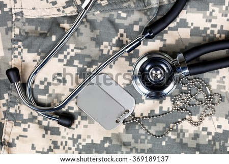 Military uniform with stethoscope and identification tags. Overhead view in horizontal layout.