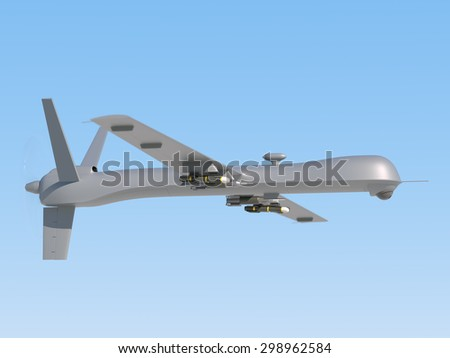 Military unmanned aerial vehicle (UAV) with missiles in the sky - stock photo