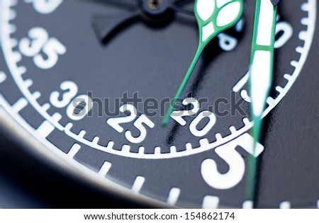 Military vintage stopwatch clock face close up.  - stock photo