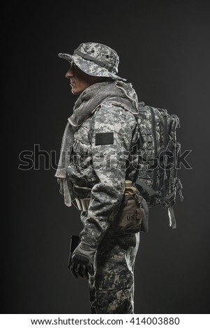 Military, war, conflict, soldiers - Special forces soldier man on a  dark background. - stock photo