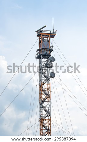 Military watch tower near border of Estonia and Russia. - stock photo