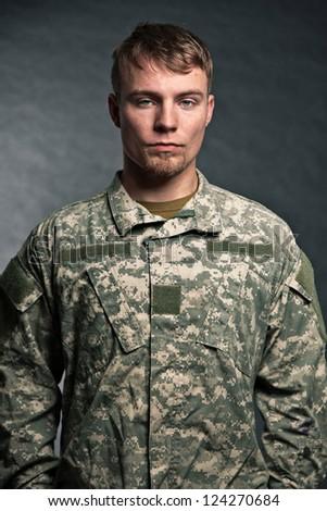 Military young man. Studio portrait. - stock photo
