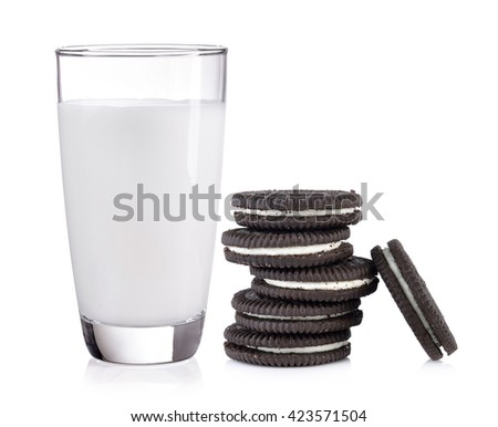 milk and Chocolate cookie on white background - stock photo