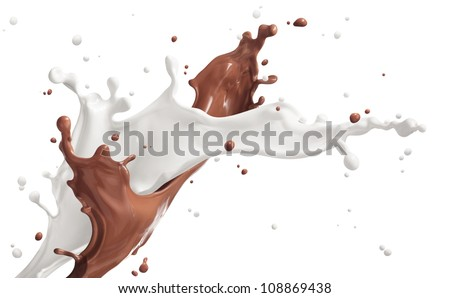 milk and chocolate splashing isolated on white - stock photo