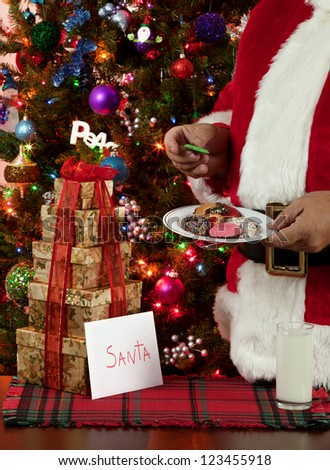 Milk and cookies for Santa - stock photo