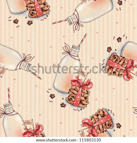 Milk and cookies for Santa. Watercolor pattern - stock photo