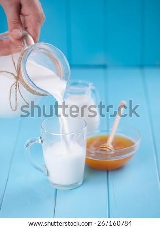 milk and honey - stock photo