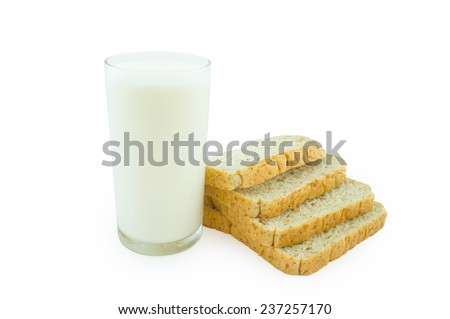 milk and sliced bread isolated