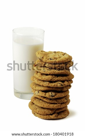 milk and stack of cookies - stock photo