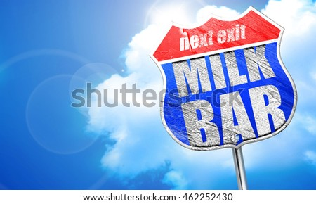 milk bar, 3D rendering, blue street sign