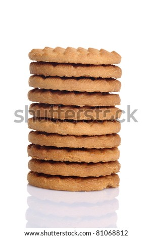 Milk Biscuits isolated on white background.