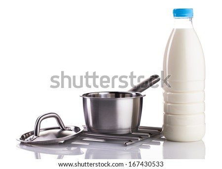 milk bottle and stainless pot isolated on white