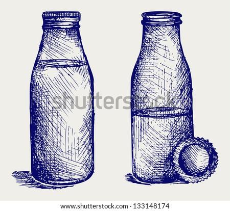Milk bottle. Doodle style. Raster version - stock photo