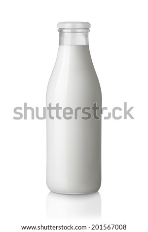 milk bottle isolated on white background - stock photo