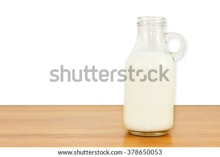 Milk bottle. Isolated on white background on the table.