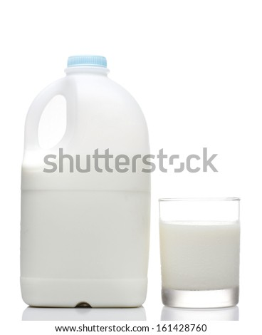 Milk Bottle with Glass on White background - stock photo