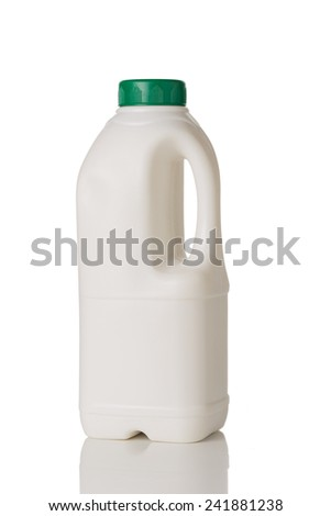 Milk Bottle with Green Cap Isolated on White Background.  - stock photo