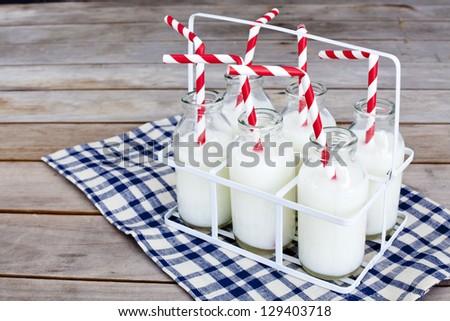 Milk bottles - stock photo