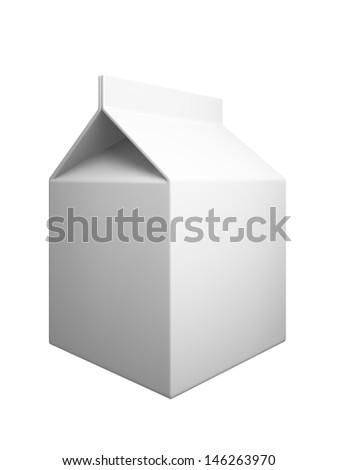 Milk box isolaned on white background - stock photo
