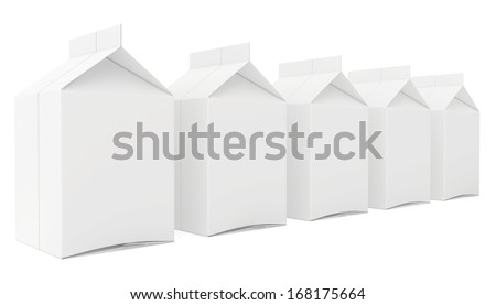milk boxes. 3d render on white background. - stock photo