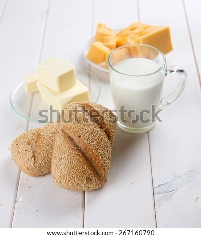 milk, bread and cheese - stock photo