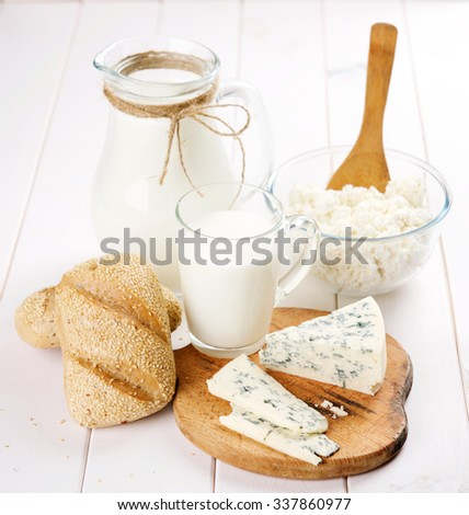 milk bread and cheese