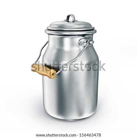 milk can isolated on a white background - stock photo