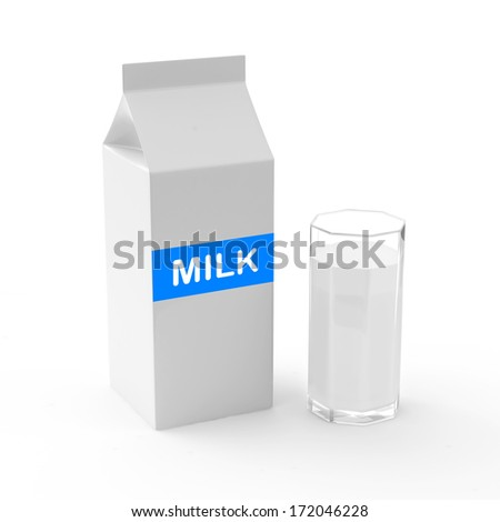 Milk Carton Package with glass on white background - stock photo