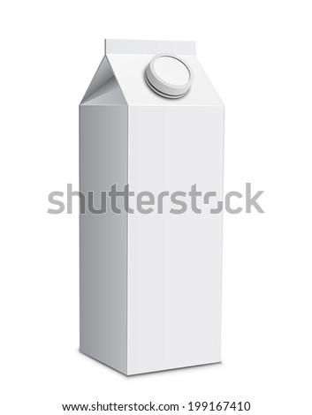 Milk carton with screw cap. Raster illustration of white milk box - stock photo
