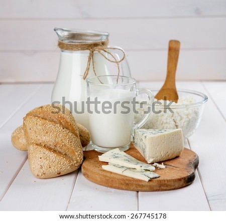 milk, cheese and bread