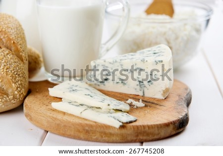milk, cheese and bread - stock photo