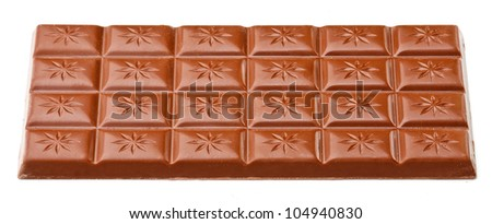 Milk chocolate bar isolated on white background. - stock photo