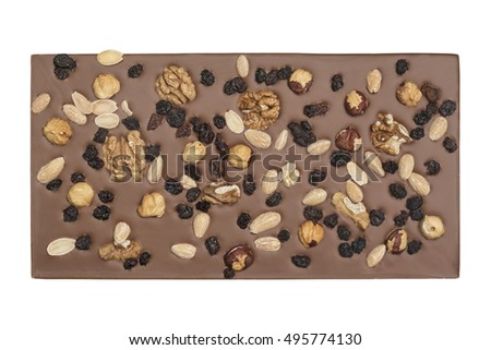Milk chocolate bar isolated on white with nuts and raisins