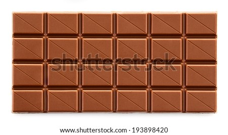 Milk chocolate bar on white background - stock photo