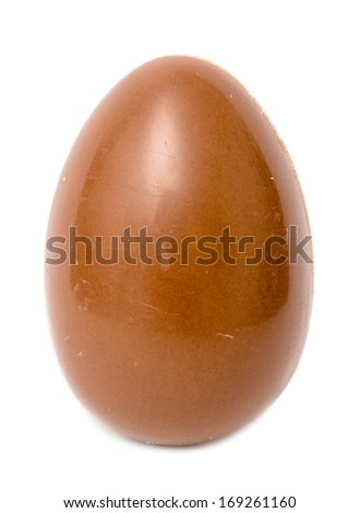 Milk Chocolate Egg On White Background - stock photo