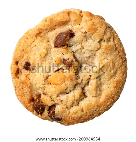 Milk chocolate macadamia, Chocolate chunk crispy cookies. - stock photo