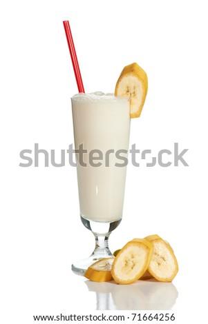 Milk cocktail with banana on white - stock photo
