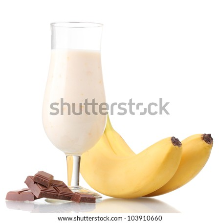 Milk cocktail with bananas and chocolate isolated on white - stock photo
