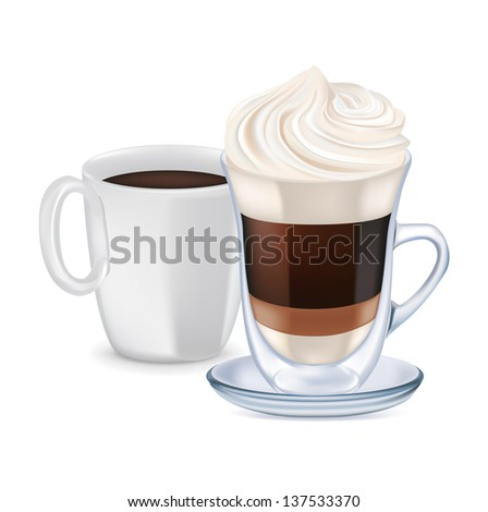 milk coffee with whipped cream and coffee cup isolated - stock photo