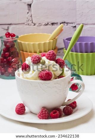 milk cream frozen dessert fresh raspberry fruit sweetness breakfast morning spring selective soft focus - stock photo