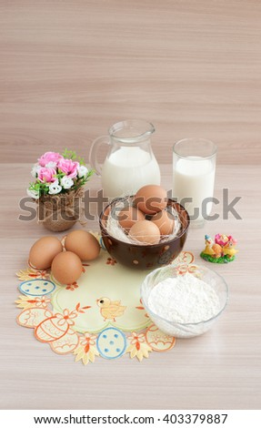 Milk, eggs and flour for baking cooking
