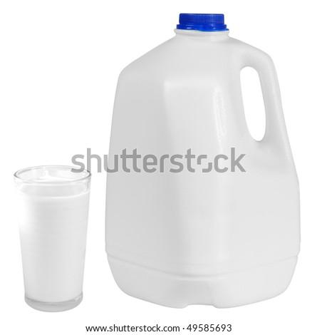 Milk gallon. Isolated - stock photo