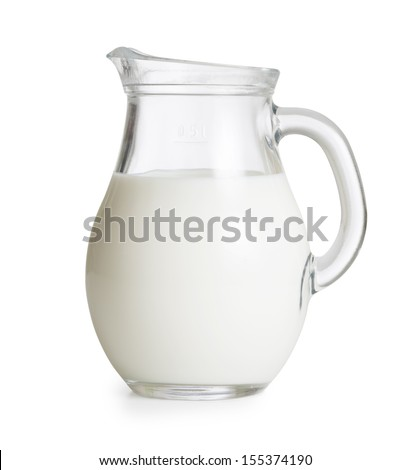 Milk glass jug or jar isolated. Clipping path with no shadows is included. - stock photo