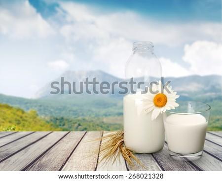 Milk, Glass, Milk Bottle. - stock photo