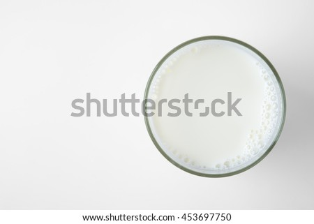 milk glass top view on white background