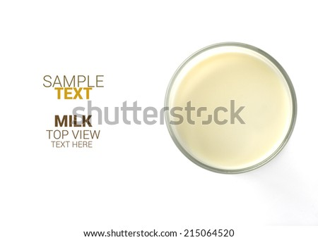 Milk glass top view on white background,isolated  - stock photo