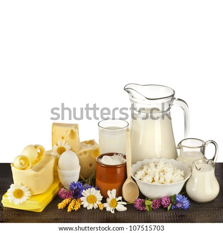 Milk in a glass (dairy products) on the table isolated on white background